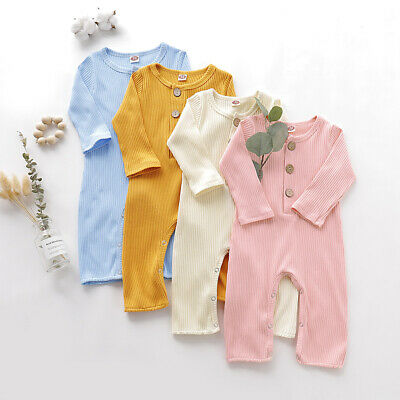 Newborn Baby Boy Girl Ribbed Outfits Button Romper Jumpsuit Bodysuit Playsuit