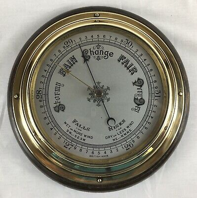 Large Antique Brass Aneroid Barometer, Mounted On Oak / Ships Bulkhead Barometer