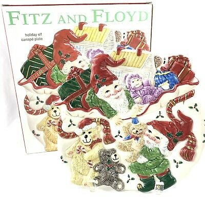 Retired Fitz and Floyd Holiday Elf Canape Plate Christmas Serving Dish 2003 Nib