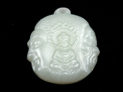 White Jade Pendant *Shakyamuni Buddha & Devil* Hand Carved In Relief #12101902