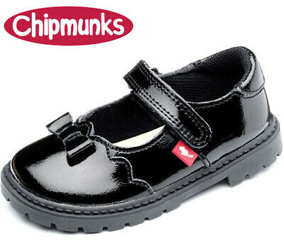 Girls Black Patent Leather Chipmunks Amber Infant Junior School Shoes Sizes 6-2