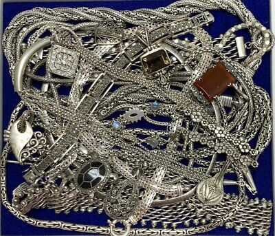 Estate Sterling Silver Jewelry Chains Bracelets Pendants For Resale 769 Grams