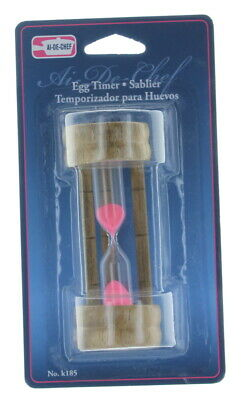 3 Minute Hourglass Wood Glass Sand Timer For Kitchen eggs and timeouts