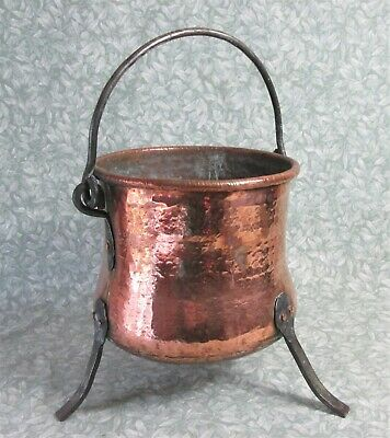 ANTIQUE FRENCH 1800s HANGING COPPER COOK POT LEGS HAND FORGED HAMMERED DOVETAIL
