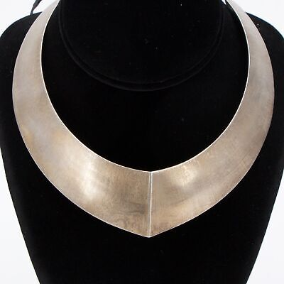 "VTG Sterling Silver MEXICO TAXCO Chunky Modern 14"" Collar Choker Necklace 77.5g"