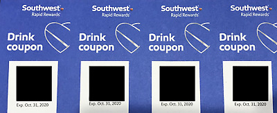 4 Southwest Airlines Coupons Drink  Voucher Exp 10/31/2020