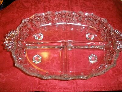 "RARE Fostoria Arcady 1936-54 etched antique 3 section relish PERFECT COND 8""X12"""