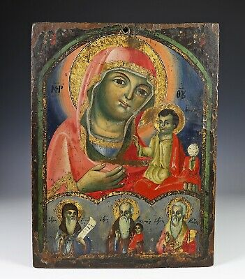 Antique Greek Russian Hand Painted Wood Panel Icon w Great Color and Gold Leaf