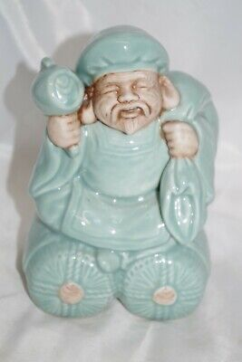 Vintage Majolica Chinese Model Mudmen Lohan Wise Old Man Town Crier Sack Beard