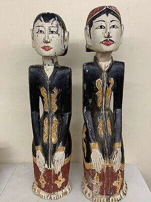 "Pair of 28"" Asian Hand Carved Wooden Figures - Emperor & Empress Chinese Japan"
