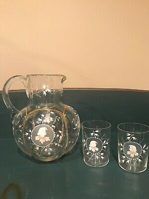Vintage Hand Painted Pitcher/w 2 Glasses