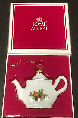 "Royal Albert Old Country Roses 1962 Christmas Teapot Ornament 3-3/4""Fine China"