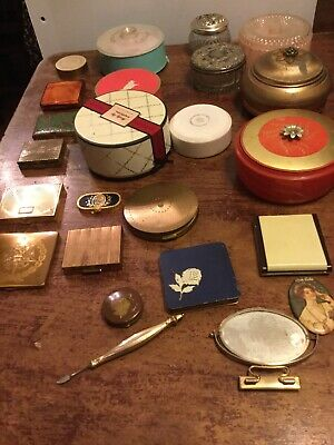 Vintage dusting powder containers, Mirrors, Pill boxes & Compacts - Lot of 23