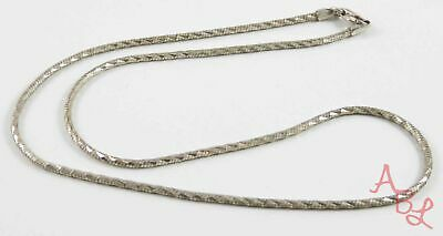 "Sterling Silver Vintage 925 Diamond Cut Snake Chain Necklace 16"" (8.6g) - 804463"