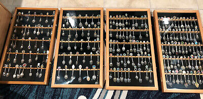 4 Spoon Displays Case Rack Holder Each Holds 60, includes 181 Collectible Spoons