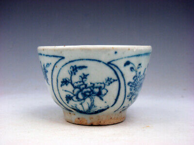 Antique QING DY Blue&White Porcelain Flower Blossoms Hand Painted Cup #11111901