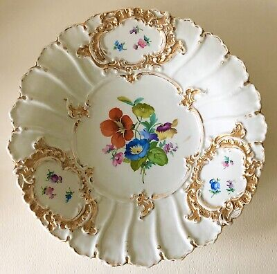 """Antique Meissen German Hand Painted Flowers Medallions Gold 11.5"""" Charger Plate"""
