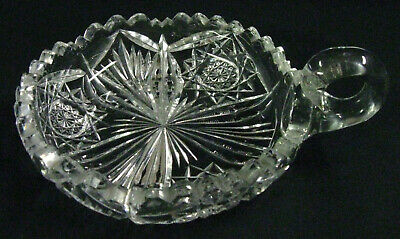 Signed Libbey Antique circa 1905 American Brilliant Cut Glass Handled Nappy Bowl
