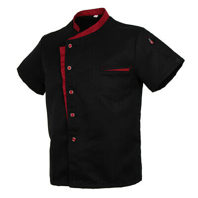 Men Short Sleeve Chefs Apparel Unisex Jacket Top Coat Uniforms - Black, 4XL