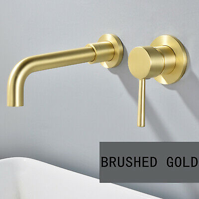 Brushed Gold Bathroom Sink Faucet Waterfall Tub Spout Basin Mixer Tap Wall Mount