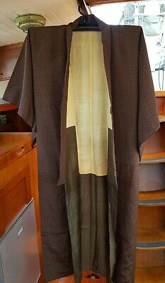 Fab Brown And Black Checked Pattern Vintage Japanese Full Length Kimono