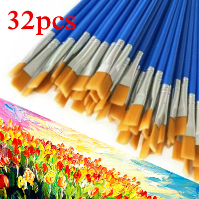32pcs Artist Paint Brushes Set Acrylic Oil Watercolour Painting Craft Art Kit