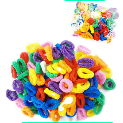 100 x Hair Bobbles Elastic Kids Mini Ponio Ponytail Band Endless Snag Free Candy