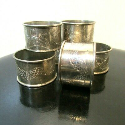 Rare  Set (6) Antique Chinese Export Sterling Silver Dragon Motif Napkin Rings