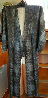 Fab Black With Blue Pattern Vintage Japanese Full Length Kimono