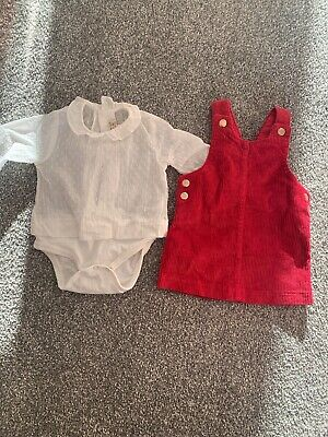 ZARA Blouse, NEXT Cord Pinafore, Christmas Outfit, Dress 0-3, Baby Girl, Red