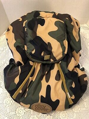 "Camo ""Cozy Cover "" Baby Infant Carrier Car Seat/ Canopy Cover Dual Zipper / VGUC"