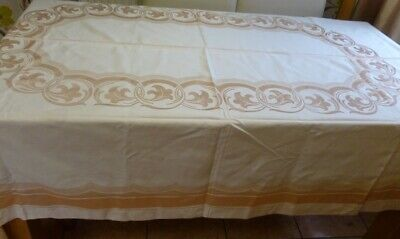 Large Cotton Damask Table cloth with 12 Napkins unused