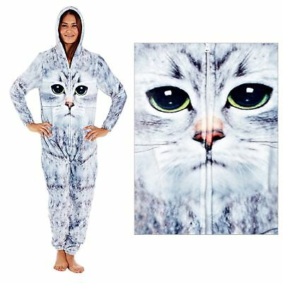 Womens Selena Secrets Quirky Cat Face All in One 1Onesie with Hood LN904 Grey
