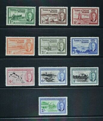 Turks & Caicos, KGVI, 1950, short set of 10 stamps to 2s. value, MM, Cat £25.