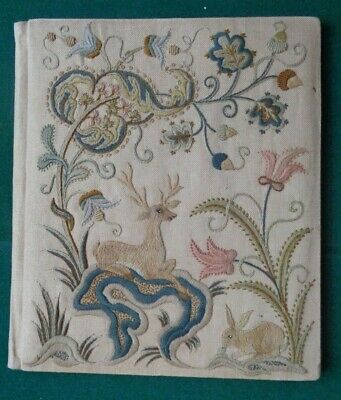 Antique Large Arts & Crafts Hand Sewn Silk Folder - Deer Rabbit Flowers Acorn