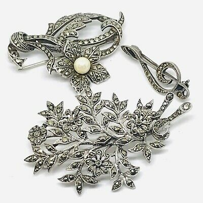 Antique Art Deco sterling silver and marcasite brooches joblot