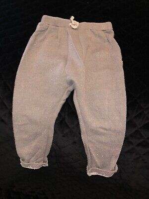 ZARA 12-18 Month Girls Bottoms Grey Sparkle, Pink Sparkle & Pink Ribbed Pairs.