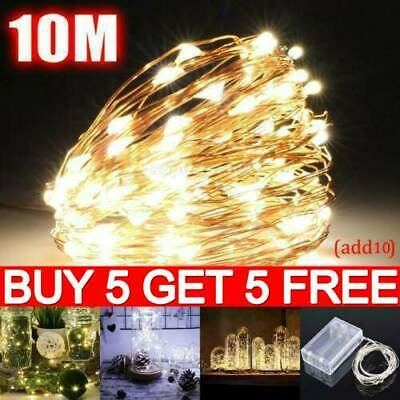 20/50/100 LED Battery Micro Rice Wire Copper Fairy String Lights Party White AN