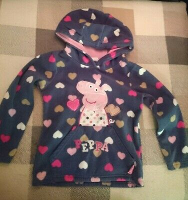 🐷 Peppa Pig Purple Hearts Girls Fleece Sweatshirt Jumper 2-3 Years 92-98cm