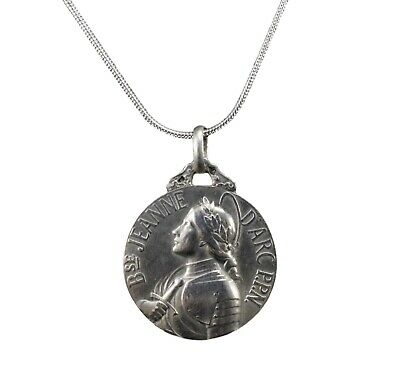 Saint Joan of Arc Large Sterling Silver Antique French Medal Pendant