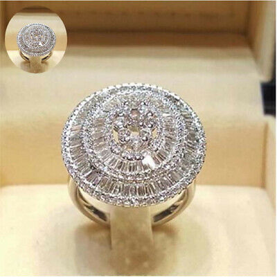 Ring White Plated Jewelry Wedding Engagement Luxury 925 Silver Shiny Sapphire