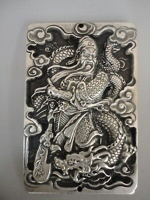Collected Ancient China Tibet Silver Carving Guan Yu God Wealth Amulet Pendant