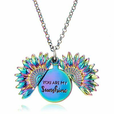 Fashion You are my sunshine Engraved Open Locket Sunflower Pendant Necklace Gift