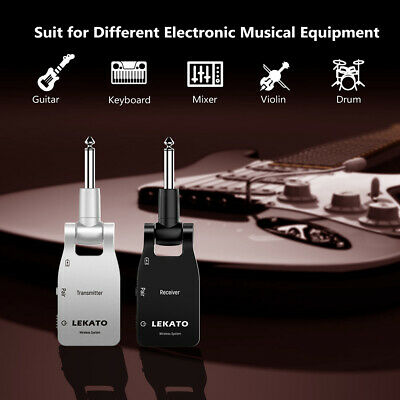 LEKATO WS-10BS BK 2.4G Wireless Guitar Audio Bass Systems Transmitter & Receiver