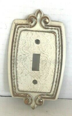 VINTAGE Amerock Antique Brass White Fleur De Lis Toggle Switch Cover Plate