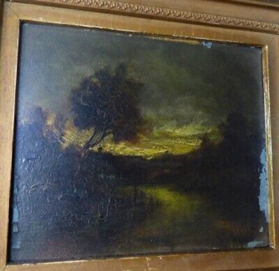 Antique Small Oil on Board J T Agnew possibly Jeannette Agnew Lyon Moonlight NY