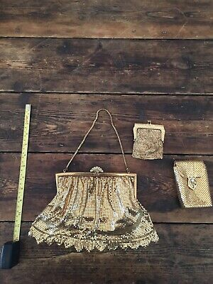 Vintage Gold Sequinned Evening Bag, Purse And Cigarette Purse