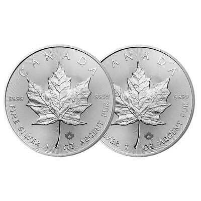 Lot of 2 - 2020 $5 Silver Canadian Maple Leaf 1 oz Brilliant Uncirculated
