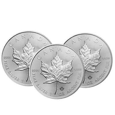 Lot of 3 - 2020 $5 Silver Canadian Maple Leaf 1 oz Brilliant Uncirculated