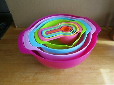 10 Pcs Style Trendy Colorful Mixing Bowls Set With Measuring Cups
